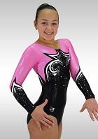 Turnanzug schwarz Samt wetlook rosa silber K759 Glitzer Diamanten