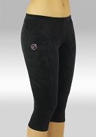 Legging 3/4 Turnlegging schwarz glatt Stretch Samt K754zw